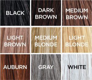 Caboki hair fibres color chart